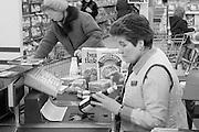 Bar code scanner at a checkout at Sainsbury's, Sheffield.