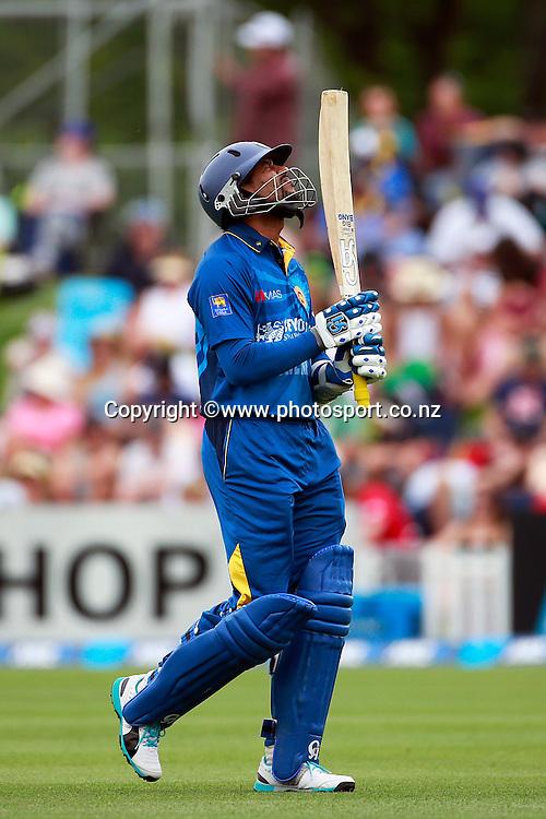 Tillakaratne Dilshan of Sri Lanka laments being stumped during the first ODI between the Black Caps v Sri Lanka at Hagley Oval, Christchurch. 11 January 2015 Photo: Joseph Johnson / www.photosport.co.nz
