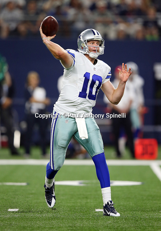 Dallas Cowboys quarterback Dustin Vaughan (10) throws a pass during the 2015 NFL preseason football game against the Houston Texans on Thursday, Sept. 3, 2015 in Arlington, Texas. The Cowboys won the game 21-14. (©Paul Anthony Spinelli)
