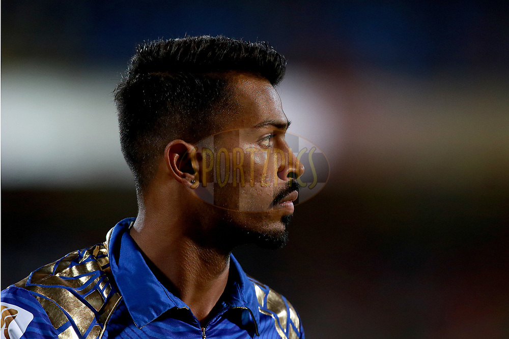 Hardik Pandya of MI during match 35 of the Vivo 2017 Indian Premier League between the Gujarat Lions and the Mumbai Indians  held at the Saurashtra Cricket Association Stadium in Rajkot, India on the 29th April 2017<br /> <br /> Photo by Rahul Gulati - Sportzpics - IPL