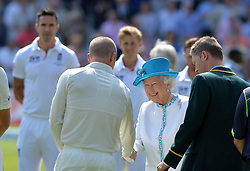 © Licensed to London News Pictures. 18/07/2013. Queen Elizabeth II is introduced to the Australian team  prior to day one of  Second Test England v Australia The Ashes Lord's Cricket Ground, London 18/07/2013<br />