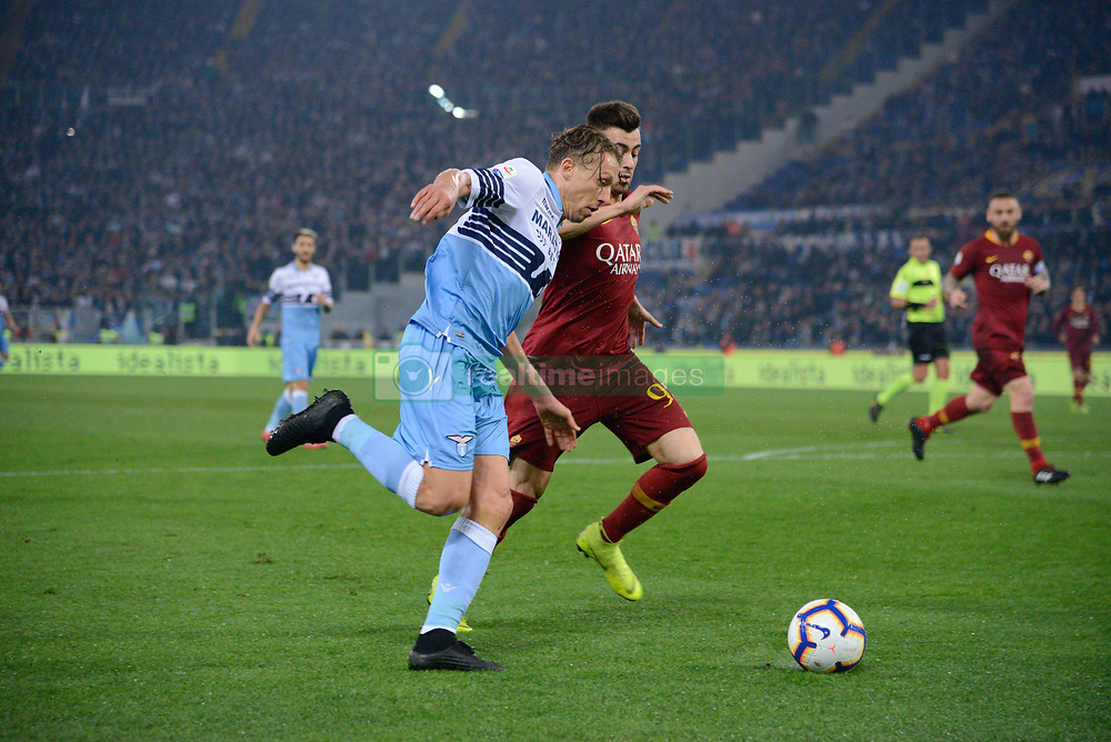 March 2, 2019 - Rome, Lazio, Italy - Lucas Leiva of SS Lazio vies Stephan El Shaarawy of AS Roma during the Italian Serie A football match between S.S. Lazio and A.S Roma at the Olympic Stadium in Rome, on march 02, 2019. (Credit Image: © Silvia Lore/NurPhoto via ZUMA Press)