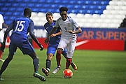 England U18 defender Jaden Brown (3) during the U18 International match between England and France at London Road (ABAX Stadium), Peterborough, England on 14 November 2016. Photo by Nigel Cole.