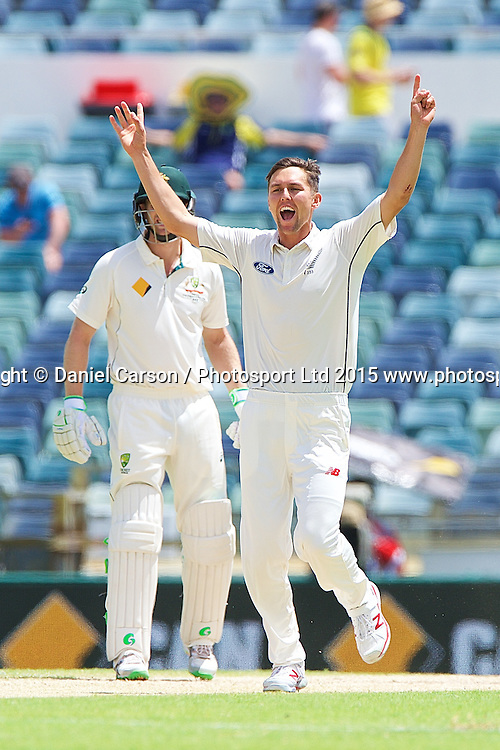 Trent Boult of the New Zealand Black Caps appeals and celebrates his wicket of Steve Smith (*c) of Australia during Day 5 on the 17th of November 2015. The New Zealand Black Caps tour of Australia, 2nd test at the WACA ground in Perth, 13 - 17th of November 2015.   Photo: Daniel Carson / www.photosport.nz