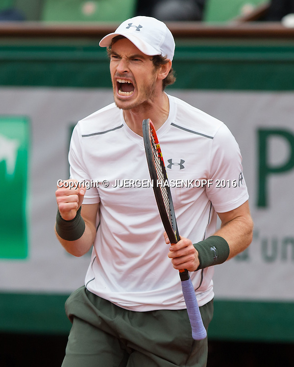 Andy Murray (GBR) macht die Faust und jubelt, Jubelt,Freude, Emotion,<br /> Tennis - French Open 2016 - Grand Slam ITF / ATP / WTA -  Roland Garros - Paris -  - France  - 3 June 2016.