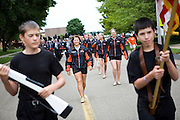 The Oregon Marching Band marches in the Summerfest parade in Oregon, Wisconsin on June 29, 2008.