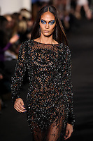 Joan Smalls walks down runway for F2012 Prabal Gurung's collection in Mercedes Benz fashion week in New York on Feb 10, 2012 NYC