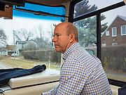 03 JANUARY 2020 - MONTEZUMA, IOWA: JOHN DELANEY in his campaign bus during a campaign visit to Montezuma, IA. Delaney, a former Democratic Congressman from Maryland, was the first Democrat to declare his candidacy for President in 2020, He has held more than 400 campaign events in Iowa since declaring his candidacy. Iowa traditionally holds the first selection event of the presidential election cycle. The Iowa Caucuses are Feb. 3.   PHOTO BY JACK KURTZ