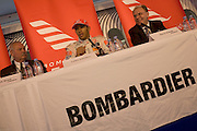 2008 Formula 1 world champion driver Lewis Hamilton attends a press conference hosted by aircraft sponsor Bombardier whose Learjet he uses.