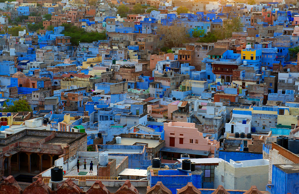 Holi revellers on a rooftop give scale to the blue houses of the district of Navchokya beyond the ramparts of Mehrangarh Fort.