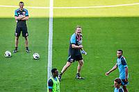 ALKMAAR - 24-08-2016, training AZ, AFAS Stadion, Niels Kok, AZ trainer John van den Brom, AZ speler Ridgeciano Haps, AZ speler Guus Til, AZ speler Dabney dos Santos Souza