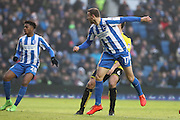 Brighton & Hove Albion centre forward Glenn Murray (17) scores a goal 4-1 during the EFL Sky Bet Championship match between Brighton and Hove Albion and Burton Albion at the American Express Community Stadium, Brighton and Hove, England on 11 February 2017.