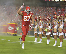 Sep 17, 2015; Kansas City, MO, USA; Kansas City Chiefs tight end Travis Kelce (87) enters the field before the game against the Denver Broncos at Arrowhead Stadium. The Broncos won 31-24. Mandatory Credit: Denny Medley-USA TODAY Sports