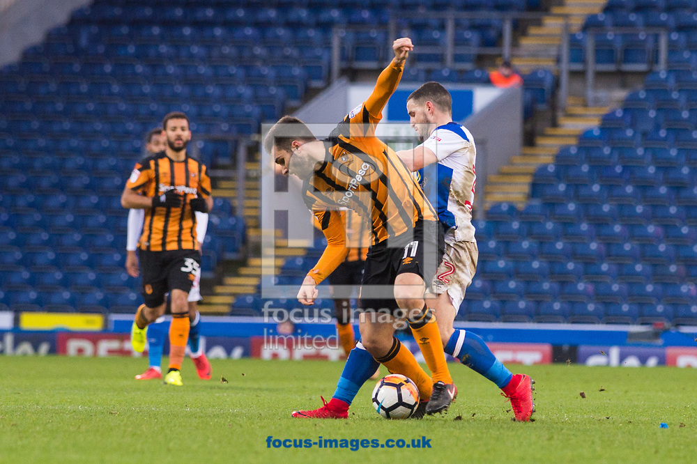 Jon Toral of Hull City tries to control the ball ahead of Craig Conway of Blackburn Rovers during the FA Cup match at Ewood Park, Blackburn<br /> Picture by Matt Wilkinson/Focus Images Ltd 07814 960751<br /> 06/01/2018