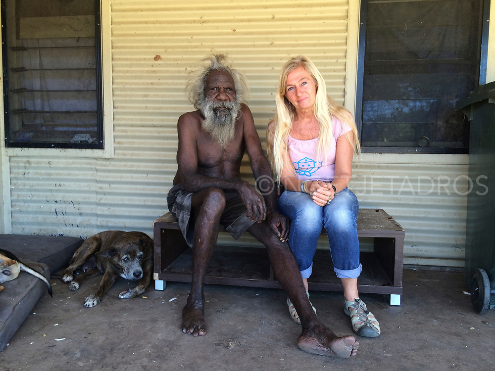 &ldquo;They had no more use for Aboriginal people&hellip;<br />when they closed down the stations we lived in,<br />they moved us out, that&rsquo;s how Balgo and surrounding<br />communities started.&rdquo; Hityer Gordon posing with Ingetje Tadros (L-R) Kununarra, Western Australia.