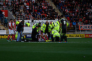 Alex Revell forced to taken off after a head injury during the Sky Bet Championship match between Rotherham United and Middlesbrough at the New York Stadium, Rotherham, England on 1 November 2014.