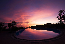 Pool at dusk in Avani Resort, Quy Nhon, Vietnam, Southeast Asia