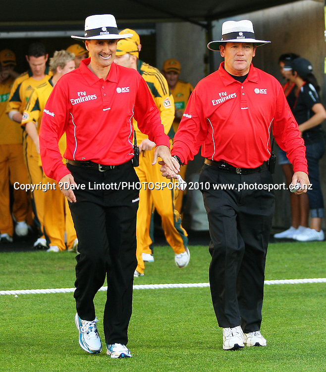 Umpires Billy Bowden and Gary Baxter walk onto the pitch.<br /> 1st Twenty20 cricket match - New Zealand v Australia at Westpac Stadium, Wellington. Friday, 26 February 2010. Photo: Dave Lintott/PHOTOSPORT