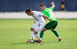 Klemen Sturm of NK Krsko vs Gasper Hrovat of ND Ilirija during football match between ND Ilirija 1911 and NK Krsko in 1st Round of Slovenian Football Cup 2017/18, on August 16, 2017 in Stadium Ilirija, Ljubljana, Slovenia. Photo by Vid Ponikvar / Sportida