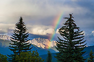 Rainbow in the Rocky Mountains Alberta Canada