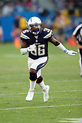 Los Angeles Chargers rookie defensive back Desmond King (36) chases the action during the 2017 NFL week 1 preseason football game against the Seattle Seahawks, Sunday, Aug. 13, 2017 in Carson, Calif. The Seahawks won the game 48-17. (©Paul Anthony Spinelli)