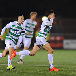 20/10/2018 - GOAL. Aaron Edwards cups his ear to visiting boss Andy Morrison as he celebrates his first goal  during the JD Welsh Premier fixture between TNS and Connah's  Quay at Park Hall, Oswestry<br /> <br /> TNS vs Connahs Quay<br /> <br /> Pic: Mike Sheridan/County Times<br /> MS300-2018