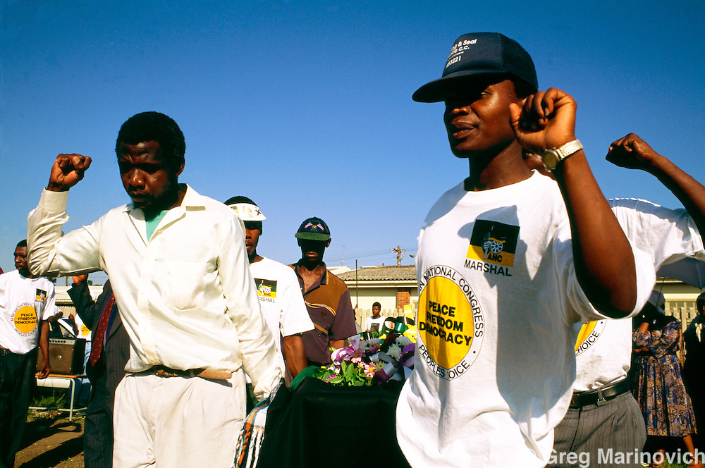 Boipatong, Vaal, South Africa, June 1992. Mourners at the funeral of 41 men women and children killed by IFP supporters in Boipatong, June 1992.