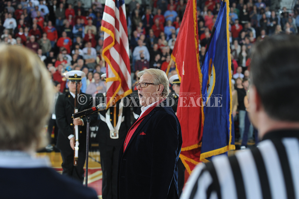 """Allen Harris sings the National Anthem before the Ole Miss vs. Mississippi State game at the C.M. """"Tad"""" Smith Coliseum in Oxford, Miss. on Wednesday, January 28, 2015. Ole Miss won 79-73."""