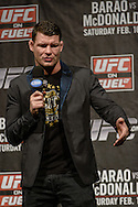 "LONDON, ENGLAND, FEBRUARY 15, 2013: Middleweight fighter Michael Bisping fields questions during the ""Fight Club"" Q&A session ahead of the weigh-ins for UFC on Fuel TV 7 inside Wembley Arena in London, England on Friday, February 15, 2013 © Martin McNeil"