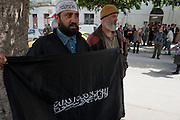 Salafists demonstrate outside a court where the Televison channel Nessma TV was convicted after broadcasting a film that was allegedly defamatory.