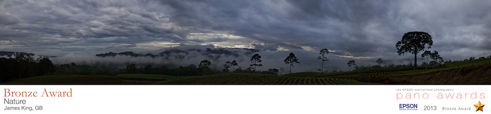 High in the mountains near Turrialba, Costa Rica lay a wealth of cloud covered plantations. This is the view one early morning from where I was camping.<br /> <br /> The EPSON International Pano Awards 2013<br /> BRONZE AWARD<br /> Amateur - Nature (including landscapes)<br /> Score: 72
