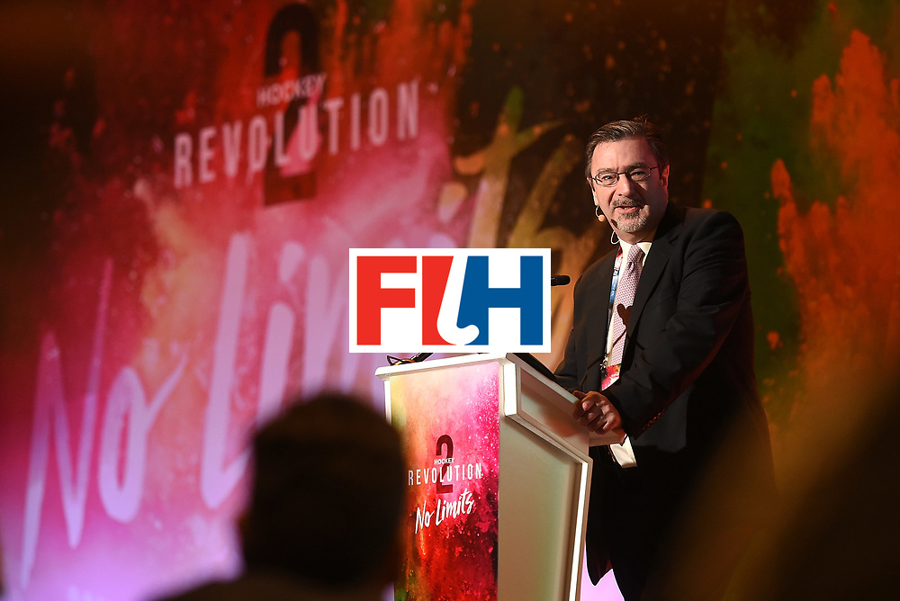 DUBAI, UNITED ARAB EMIRATES - NOVEMBER 12:  Andrew Ryan, Director of The Association of Summer Olympic International Federations speaks during the 45th FIH Congress - Hockey Revolution Conference on November 12, 2016 in Dubai, United Arab Emirates.  (Photo by Tom Dulat/Getty Images)
