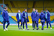 Leeds United players, including Leeds United defender Ben White (5) and Leeds United forward Tyler Roberts (11)  arrives at the ground during the EFL Sky Bet Championship match between Leeds United and Huddersfield Town at Elland Road, Leeds, England on 7 March 2020.