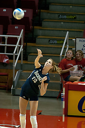 15 October 2005: Notre Dame Fighting Irish Lauren Brewster serves. The Fighting Irish of Notre Dame knocked out the Illinois State Redbirds in 4 games.  The match was filled with several action packed vollies. A resonable fan base was on hand for this rare Monday evening competition at Redbird Arena on the campus of Illinois State University in Normal IL