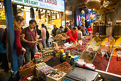 The Spice Bazaar, also known as the Egyptian Bazaar, in the Eminonu area of Istanbul, Turkey.