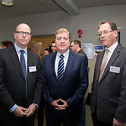 20.01.17<br /> Minister of State for Employment and Small Business, Deputy Pat Breen addressed a seminar for SMEs on The Role of Education in Supporting Small Business at University of Limerick.<br /> <br /> Pictured at the event were, Dr. Mark Southern, UL, Minister of State for Employment and Small Business, Deputy Pat Breen and Prof. Edmond Magner, Dean of Science and Engineering UL.<br /> <br />  Jointly hosted by the Kemmy Business school and the faculty of Science and Engineering, the event brought together small and medium enterprises along with representative bodies, Local Enterprise Offices, Chambers of Commerce, Irish Small and Medium Enterprises association (ISME), Enterprise Ireland and the IDA. The aim of the event was to stimulate greater collaboration between third level institutes and SMEs in relation to research, education and business advice. To date, University of Limerick and Limerick Institute of Technology have supported a number of start-ups through the Nexus Innovation Centre and LIT's Enterprise Centres while academic staff have provided expert advice to local companies. Picture: Alan Place