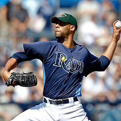 February 26, 2011; Port Charlotte, FL, USA; Tampa Bay Rays starting pitcher David Price (14) throws during a spring training exhibition game against the Pittsburgh Pirates at Charlotte Sports Park.  Mandatory Credit: Derick E. Hingle