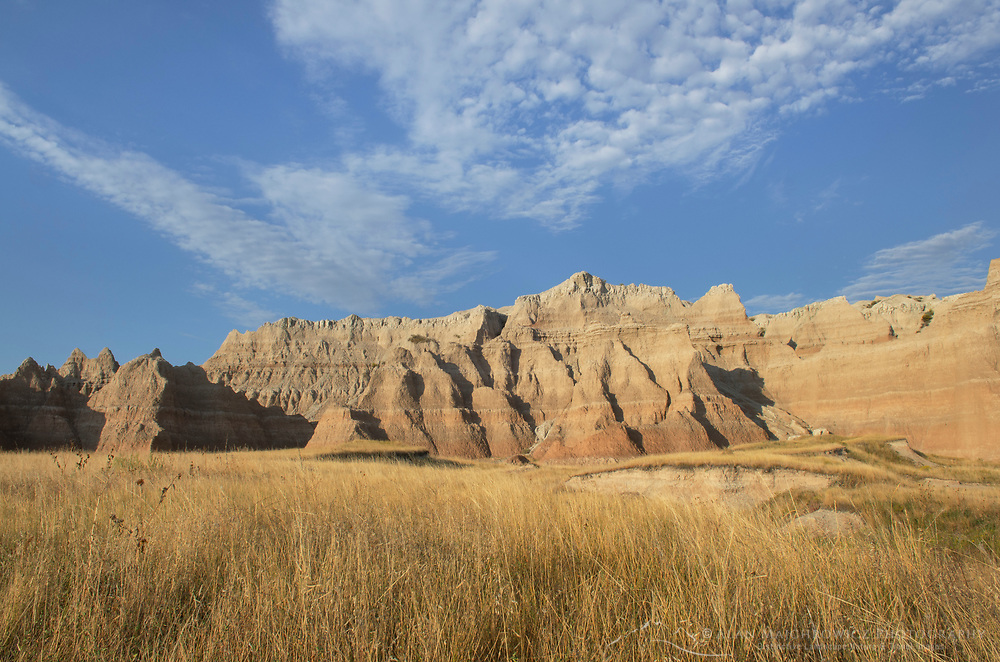 Badlands formations and mixed grass prairie grasses. Badlands National Park South Dakota