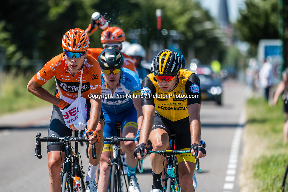 Leading group with riders of Roompot - Nederlandse Loterij at 2018 National Road Race Championships Netherlands for Men Elite, Hoogerheide, The Netherlands, 1 July 2018. Photo by Pim Nijland / PelotonPhotos.com | All photos usage must carry mandatory copyright credit (Peloton Photos | Pim Nijland)