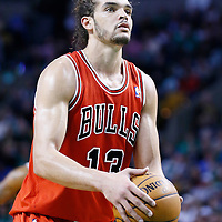 13 February 2013: Chicago Bulls center Joakim Noah (13) is seen at the free throw line during the Boston Celtics 71-69 victory over the Chicago Bulls at the TD Garden, Boston, Massachusetts, USA.