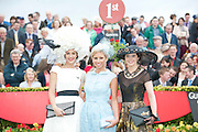 The winner of the Anthony Ryans Best Hat Competition  Alex Butler  with Rachelle Guiry, winner of Anthony Ryans Best Dressed Lady Competition, and  the winner of the Anthony Ryans Wear Irish Award Aisling Maher  at the ladies day of The Galway Races. Photo:Andrew Downes