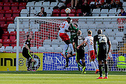 York City goalkeeper Scott Flinders clears his lines by punching the ball clear during the Sky Bet League 2 match between Stevenage and York City at the Lamex Stadium, Stevenage, England on 12 September 2015. Photo by Simon Davies.