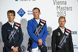 21.09.2013, Rathausplatz, Wien, AUT, Global Champions Tour, Vienna Masters, Springreiten (1.60 m), Siegerehrung, im Bild v.l.n.r. Harrie Smolders (NED) auf Jackson Hole on 2nd place, Gerco Schroeder (NED) auf London on first place and Rolf-Goeran Bengtsson (SWE) auf Casall ASK on 3rd place // during Vienna Masters of Global Champions Tour, International Jumping Competition (1.60 m) winning ceremony at Rathausplatz in Vienna, Austria on 2013/09/21. EXPA Pictures © 2013 PhotoCredit: EXPA/ Michael Gruber