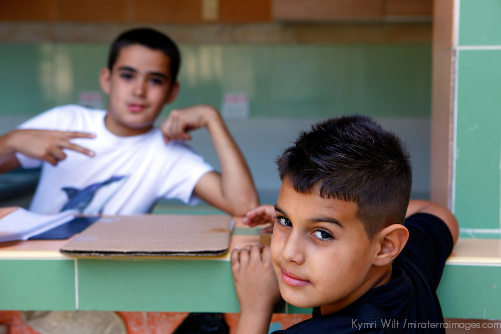 Central America, Cuba, Havana. Young boys of the Muraleando Community Project in a Havana barrio.