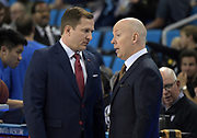 Nov 15, 2019; Los Angeles, CA, USA; UNLV Rebels head coach T.J. Otzelberger (left) talks with UCLA Bruins head coach Mick Cronin during the game at Pauley Pavilion. UCLA defeated UNLV 71-54.