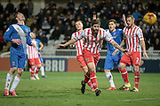 Dean Wells (Stevenage) heads the ball behind for a corner to Hartlepool during the Sky Bet League 2 match between Hartlepool United and Stevenage at Victoria Park, Hartlepool, England on 9 February 2016. Photo by Mark P Doherty.