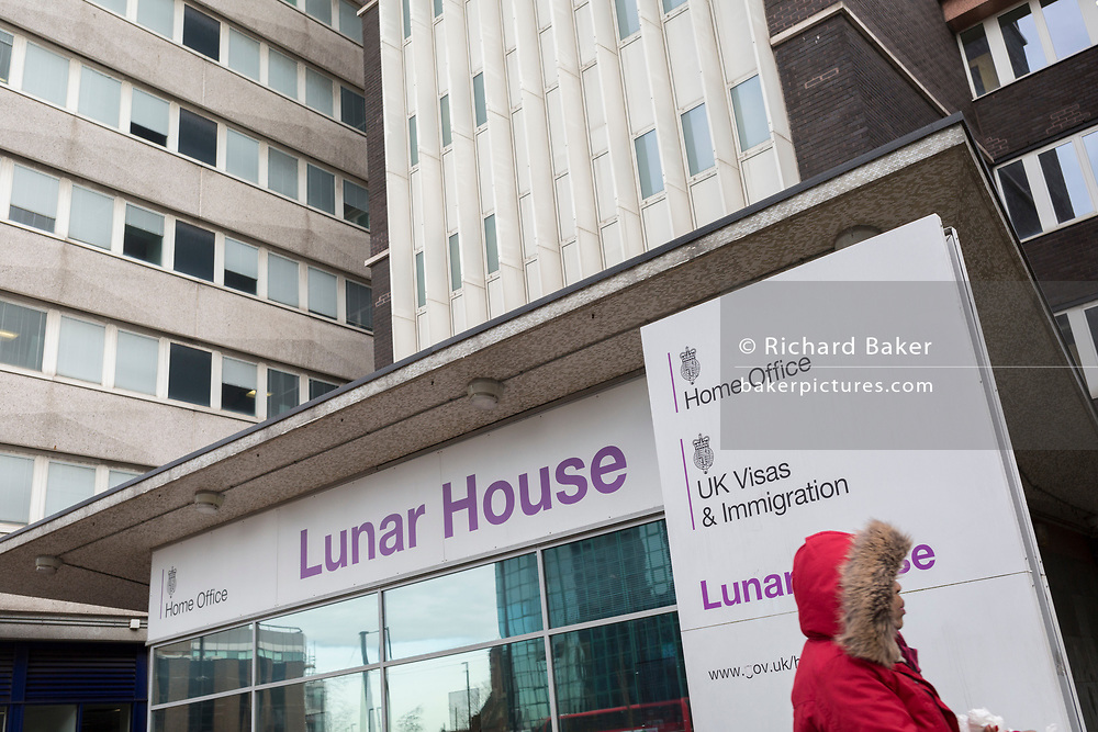 An exterior of Lunar House, the headquarters of 'UK Visas and Immigration', a division of the Home Office on Wellesley Road, Croydon, on 20th January 2020, in Croydon, London, England. Lunar House was completed in 1970, inspired by the landing of Apollo 11 on the Moon in 1969.