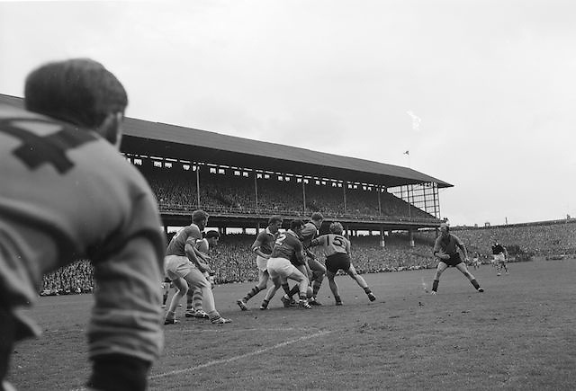 Down's J.Purdy tries to get the ball through the tangle of Kerry backs during the All Ireland Senior Gaelic Football Final Kerry v Down in Croke Park on the 22nd September 1968. Down 2-12 Kerry 1-13.