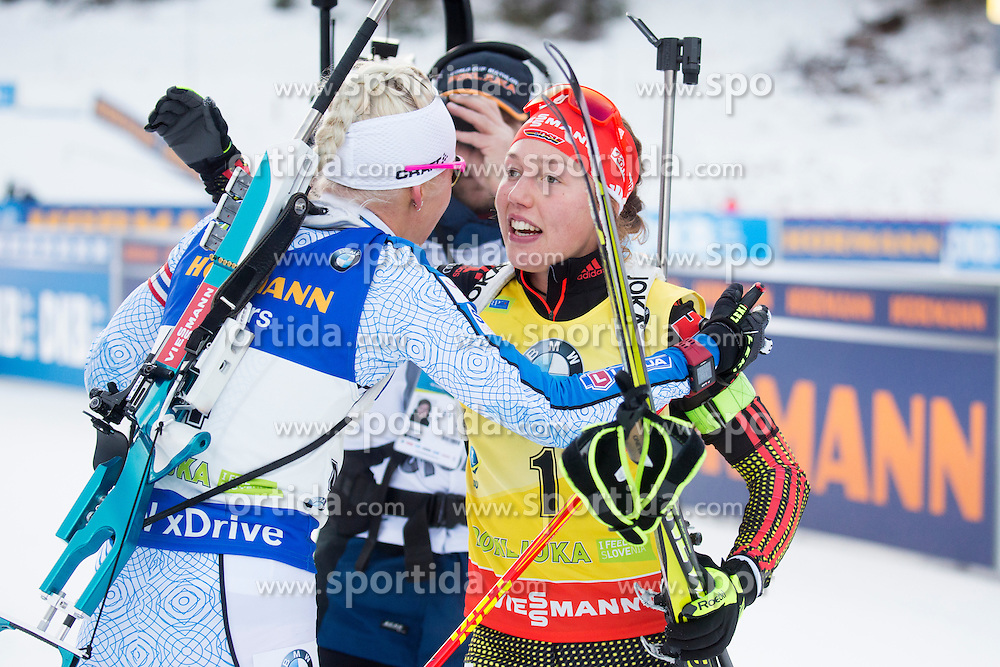 Kaisa Makarainen (FIN) and Laura Dahlmeier (GER) during Women 10 km Pursuit at day 2 of IBU Biathlon World Cup 2016/2017 Pokljuka, on December 10, 2016 in Rudno polje, Pokljuka, Slovenia. Photo by Urban Urbanc / Sportida