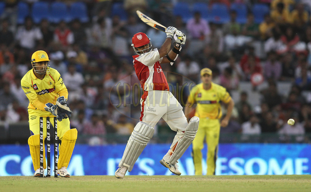 Paul Valthaty of the Kings XI Punjab attacks a delivery during match 9 of the Indian Premier League ( IPL ) Season 4 between the Kings XI Punjab and the Chennai Super Kings held at the PCA stadium in Mohali, Chandigarh, India on the 13th April 2011..Photo by Shaun Roy/BCCI/SPORTZPICS